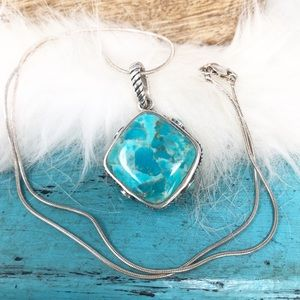 Barse Turquoise Sterling Pendant Snake Necklace